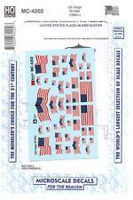 HO Scale Microscale MC-4202 American Flags 50 Stars (1960+) Decal Set