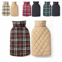 Dog Coat Windproof Winter Warm British Style Plaid Vest Apparel Jacket For Pet