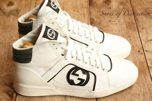 Gucci White Leather Hi Tops Boots Trainers Sneakers Men's UK 5.5 US 6.5 EU 38.5