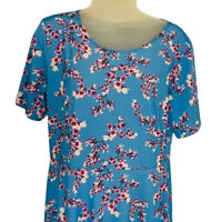 Lbisse Womens Dress Blue Pink Floral Stretch Maxi Scoop Neck Short Sleeve L