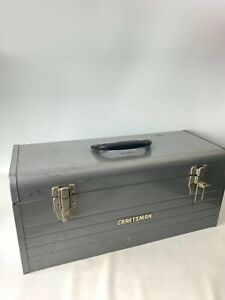 "Vintage Craftsman Mechanics Tool Box Metal Grey 20"" x 8"" x 9"" No Tray"