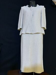 St John Knit Skirt Suit Jacket Beige Size 2