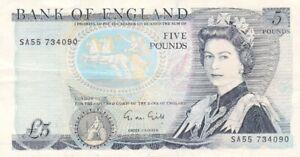 #Bank of England 5 Pounds 1971 P-378 VF Qn. Elizabeth II