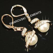 SALE 18K Rose Gold Filled made with Swarovski Crystal Pearls Earrings Xmas E459G