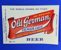 Lot of 5 Cumberland Brewing Co OLD GERMAN Paper Beer Labels Unused MD NOS