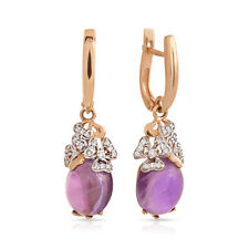 Earrings NEW Russian Solid Rose Gold 14K 585 fine jewelry purple amethyst 5.74g