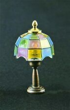 Coloured Tiffany Table Lamp Dolls House Miniature Electric Lighting