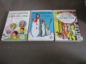 série LE CLUB DES CINQ / 3 livres ANNEES 60  /   / bibliothéque rose / TBE++