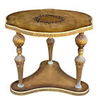 Vintage Italian Hollywood Regency Brass Gilded Glass Top End Table