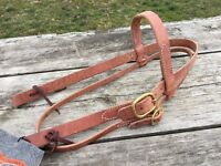 """Circle Y 1"""" harness leather Western headstall w/brass buckle US made"""