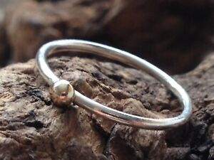 Sterling Silver & Recycled 9ct Gold Stacking Ball Ring ~ Handmade