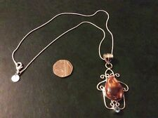 Jasper 925 silver pendant with a 925 silver snake chain app18inch long