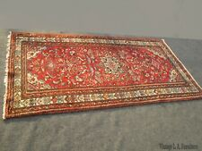 Vintage Red Floral Wool Hand Knotted Area Rug - 3′1″ × 6′1″
