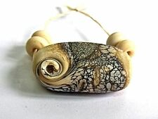 """UNIQUE HANDMADE LAMP WORK GLASS BEADS, """"CREAM/SILVER ROCK"""" ETCHED"""