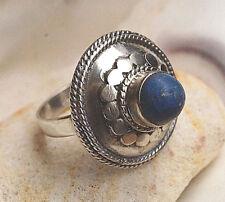 "Silberring 59 Lapis Lazuli Pyrit Blau Verspielt Silber Ring Kuppel Pilz"" Antik"""