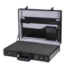 Black Aluminum Hard Briefcase with Foam Protection Business Flight Carrying Case