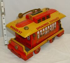 BROADWAY TROLLEY TRAIN TIN BATTERY OPERATED TOY 1960s WORKS