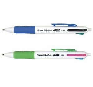 x2 Pack PaperMate Kilometrico & Neon Retractable Ball Point Pen 4 Color 1.0mm