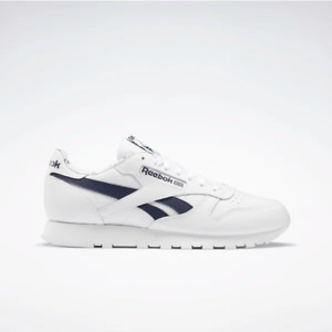 Reebok Mens Classic Leather Shoes Trainers White/Navy FV9303 Retro UK 8, 9, 10