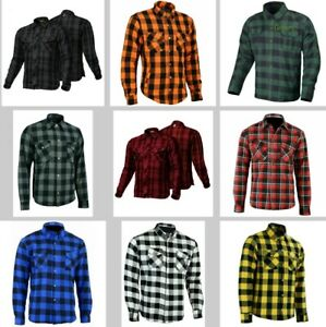 Men Motorcycle Plaid Flannel Lumberjack Shirt Reinforced With Kevlar Fiber Armor