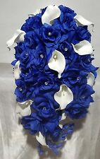Royal Blue Rhinestone Rose Calla Lily Cascading Bridal Bouquet & Boutonniere