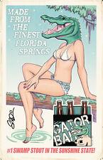 GATOR BAIT BEER AD 11x17 Florida Pinup Poster Scott Blair Art