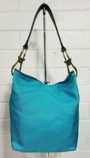 JPK PARIS 75 TURQUOISE NYLON FABRIC TRIM LEATHER BUCKET BAG SHOULDER BAG PURSE