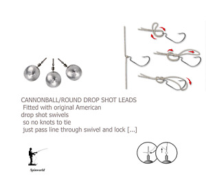 Drop shot weights variety sizes  with american knot free swivels Price per pack