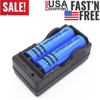 2PC 18650 Battery 3000mAh Li-ion 3.7V BRC Rechargeable Batteries + Dual Charger