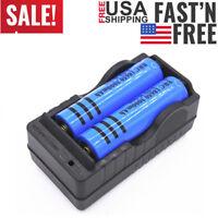2PC 18650 Battery 3000mAh Li-ion 3.7V BRC Rechargeable Batteries + Dual Charger