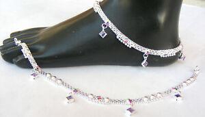 Handmade 925  Pure Silver Indian Payal Anklet Pair 38.6 Gram 11''  AF 33