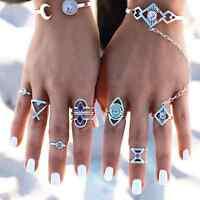 Vintage Bohemia 8pcs Turquoise Ring Set Steam Punk Blue Midi Knuckle Women Ring