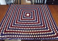 Vintage Hand Made Crochet GRANNY SQUARE Afghan Blanket Lap throw 48x48