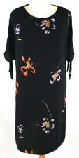 GEORGE Floral Print Open Shoulder Short Sleeve Midi Dress UK 12 Black Party