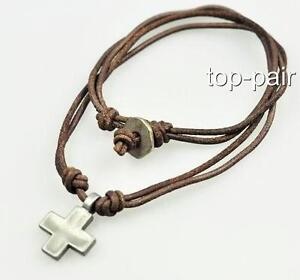Surfer Cool Cross Leather Beach Chocker Necklace Brown