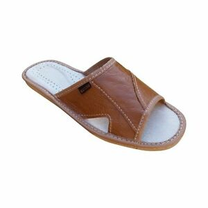 Men's Leather Slippers Slip On Mules Shoes Sandals Light Brown Size 6-11 UK