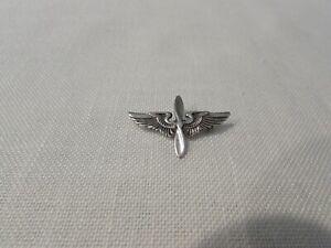 Vintage .925 Sterling Silver Air Force Wings/Propeller Hat/Lapel Pin
