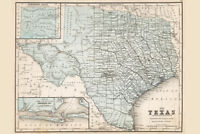 Map of Texas 1867 Antique Style Map Poster 12x18 inch