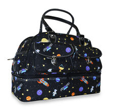 Galaxy Space Drop Bottom Duffel Bag Duffle Shoe Compartment Travel Luggage Girls
