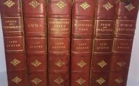 Set - Six 1904 Jane Austen Series Includes Memoir & Unpublished Text Red Leather