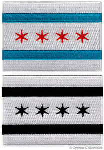 LOT of 2 CHICAGO CITY FLAG embroidered iron-on PATCH EMBLEM ILLINOIS COOK COUNTY