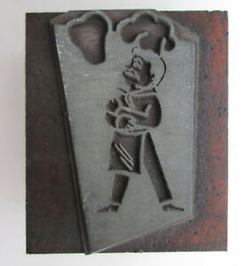 Kitchen Chef Cook Image Letterpress Printing Block 1 7/16 by 1 3/4 Wood Base