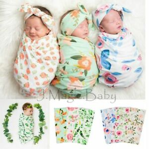 Newborn Baby Infant Floral Swaddle Sleeping Blanket Wrap Headband Set Photoprop