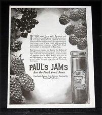 1920 OLD MAGAZINE PRINT AD, PAUL'S FRUTI JAMMI, RASPBERRIES LOGANBERRIES, SPICY!