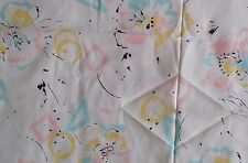 "Linen Like Cotton Poly Fabric CONTEMPORARY FLORAL ON WHITE Sheer 44""W x 5 Yards"