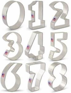 Numbers Metal Cookie Cutters 9 Piece Set 0, 1, 2, 3, 4, 5, 6/9, 7, 8 Ann Clark