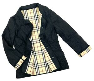 Auth Women's BURBERRY London Black Quilted Casual Windbreaker Jacket Size S/M