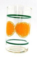 Orange Slices Vintage Orange Juice Glass Green Stripe