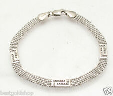 """7"""" 5 Row Ball Chain Bracelet Greek Key Stations REAL Solid 14K  White Gold"""