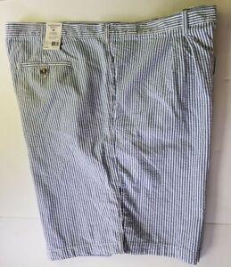 NEW Saddlebred Seersucker Straight Fit Blue White Striped Shorts Big Tall Sz 50